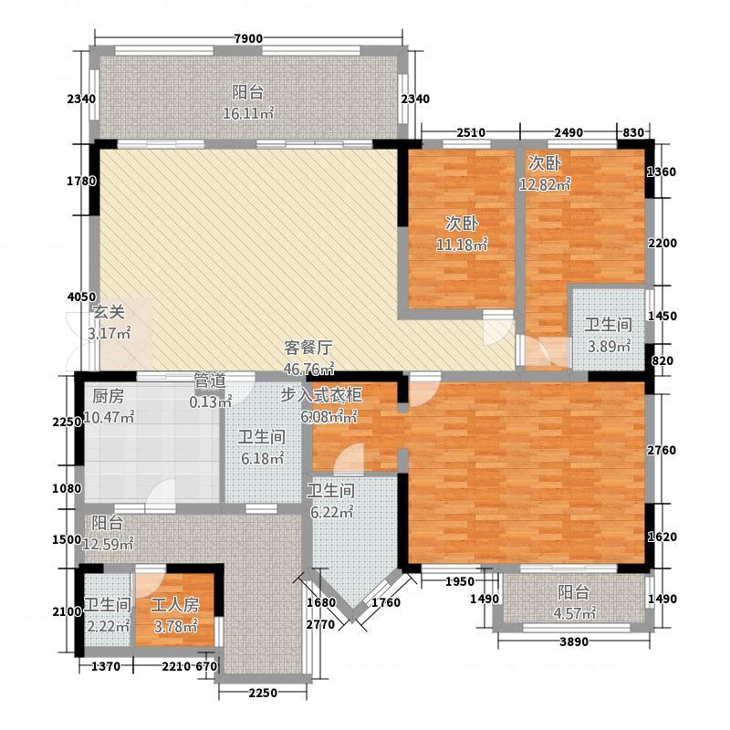 蓝光公馆1881197.00㎡望邸A3户型4室2厅4卫1厨