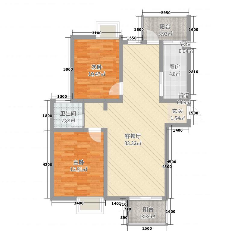 中青国际6.31㎡1户型2室2厅1卫1厨
