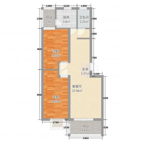 凤凰花园2室1厅1卫1厨82.00㎡户型图
