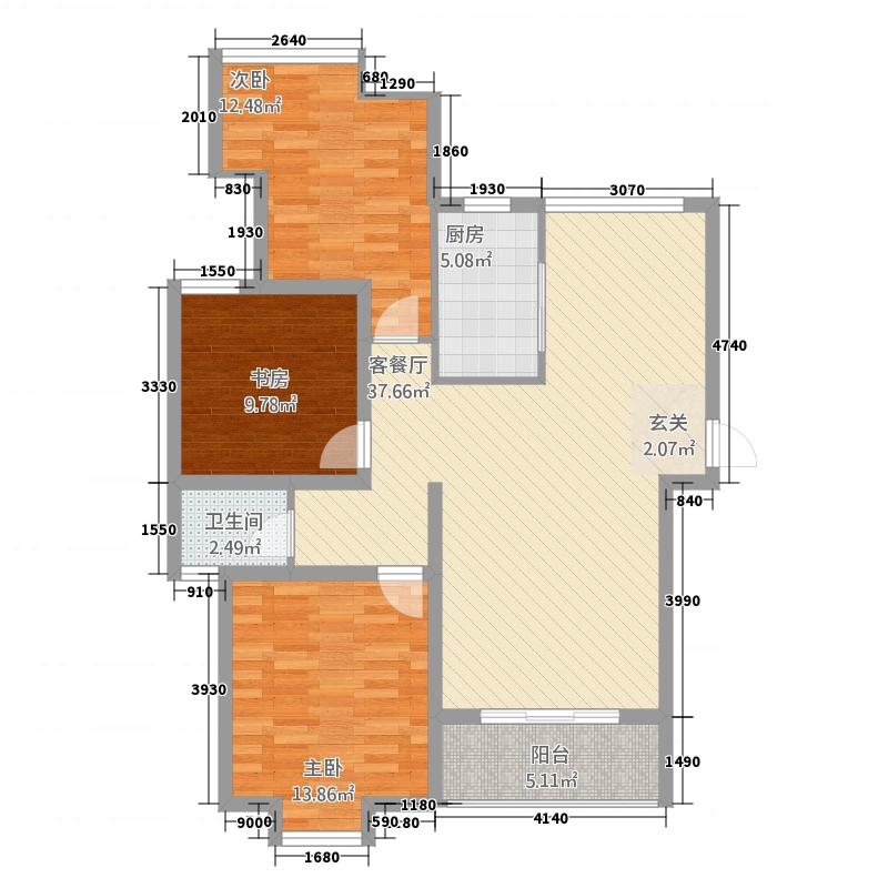 金桥名邸122.25㎡F户型3室2厅1卫1厨