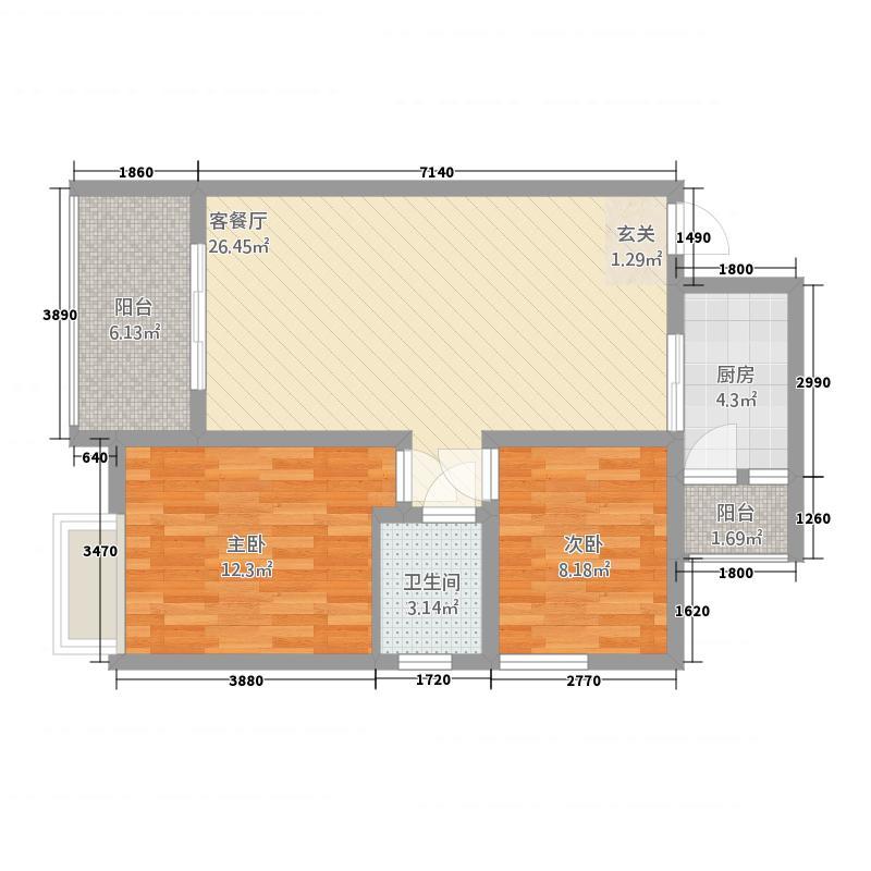 紫君花园1684.82㎡1栋、6栋B型户型2室2厅1卫1厨