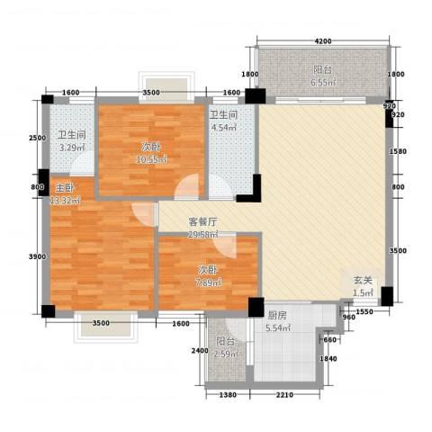 龙日花苑三期3室1厅2卫1厨83.98㎡户型图