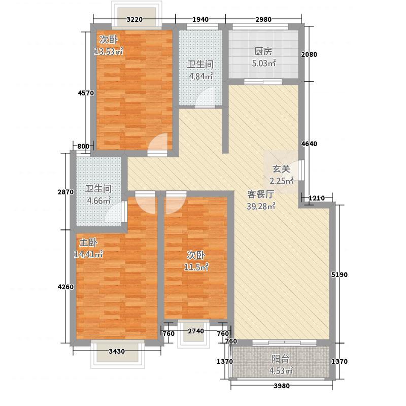 青山家园32214.38㎡c户型3室2厅2卫