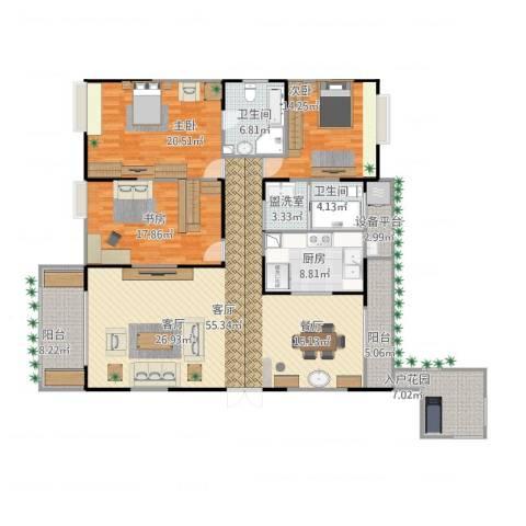 绿地悦城3室2厅3卫1厨207.00㎡户型图