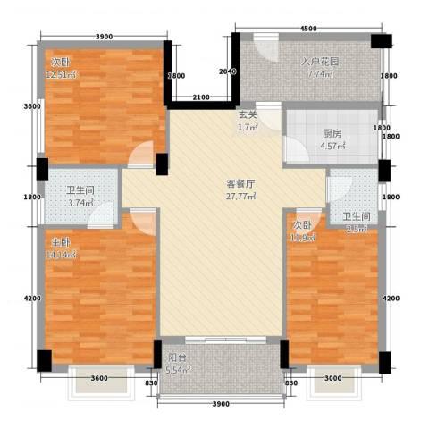 龙日花苑三期3室1厅2卫1厨113.00㎡户型图