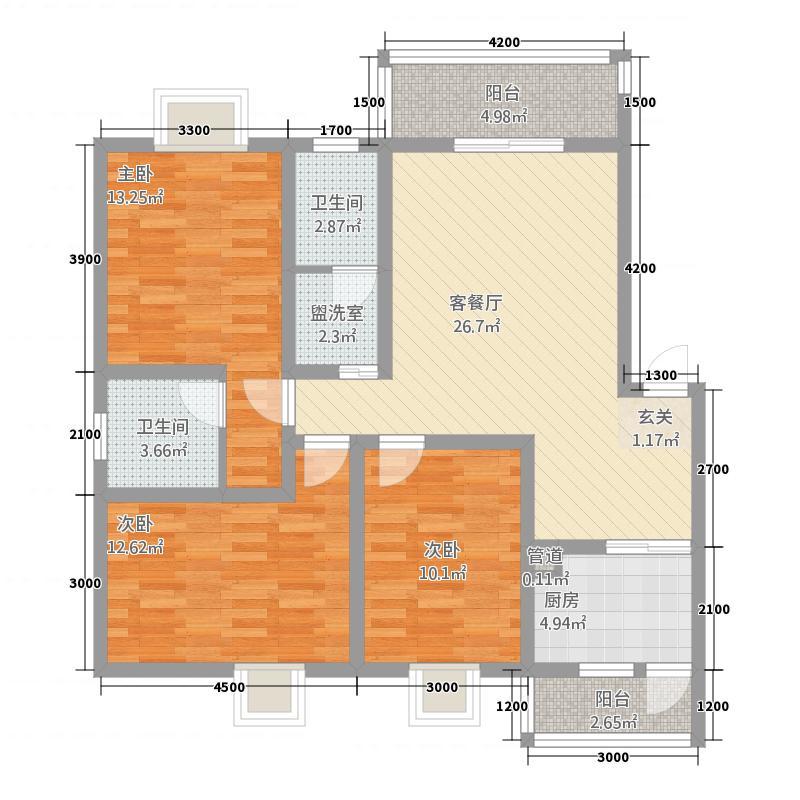 林郡13.24㎡E户型3室2厅2卫