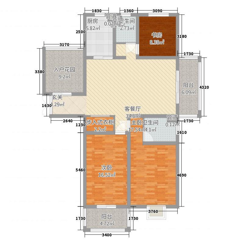 信达・香堤国际163.50㎡一期高层标准层F户型3室2厅2卫1厨