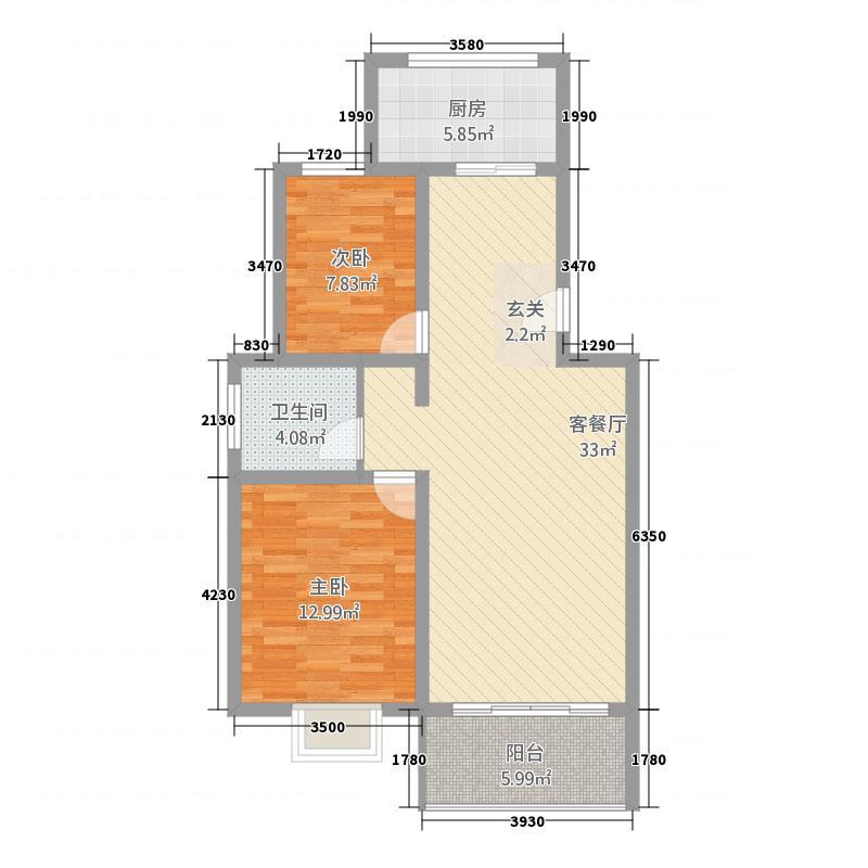 青山家园22.64㎡a户型2室2厅