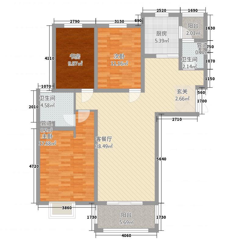 信达・香堤国际14.00㎡一期高层标准层A户型3室2厅2卫1厨