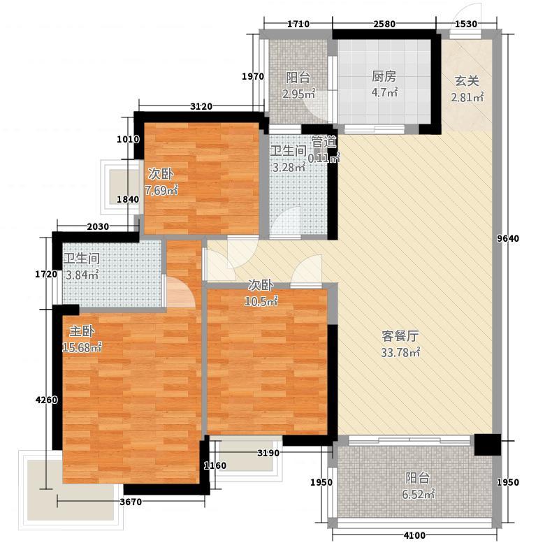 中海金沙湾128.80㎡A3栋5~27层02户型3室2厅2卫1厨