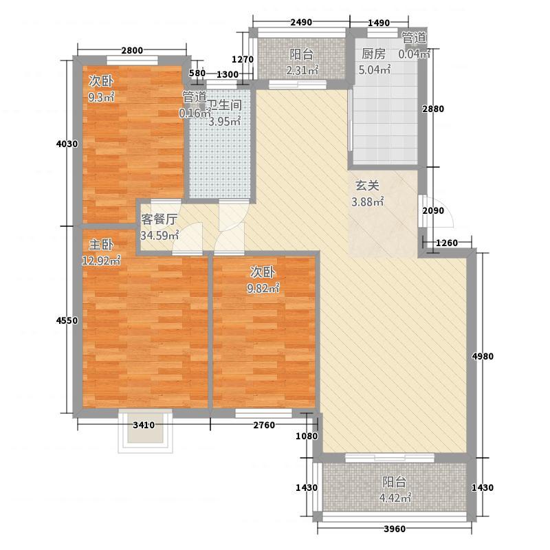 奥林匹克花园32116.20㎡c户型3室2厅1卫