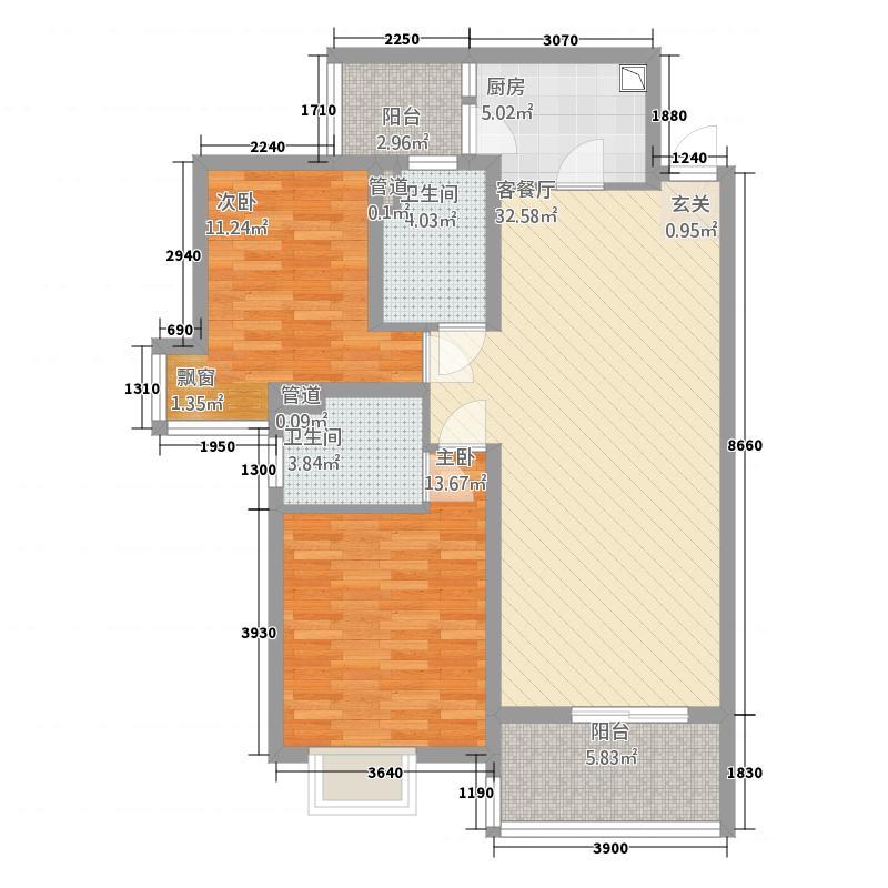 水岸东方2217.53㎡D户型2室2厅2卫1厨