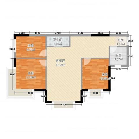 容大印象江南3室1厅1卫1厨76.90㎡户型图