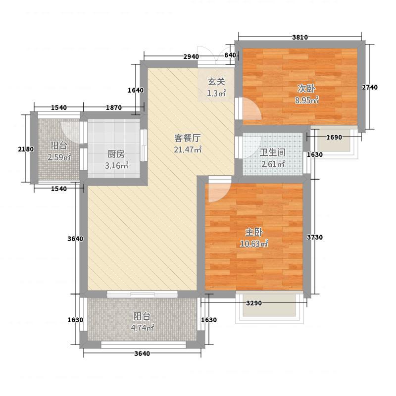 百合春天1286.68㎡C1户型2室2厅1卫1厨