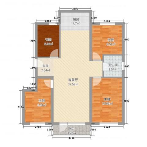 山景铭城4室1厅1卫0厨113.00㎡户型图