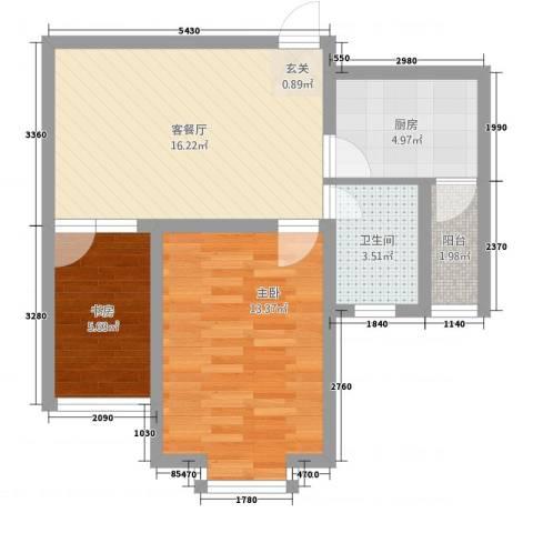 瑞恒水岸新城2室1厅1卫1厨67.00㎡户型图