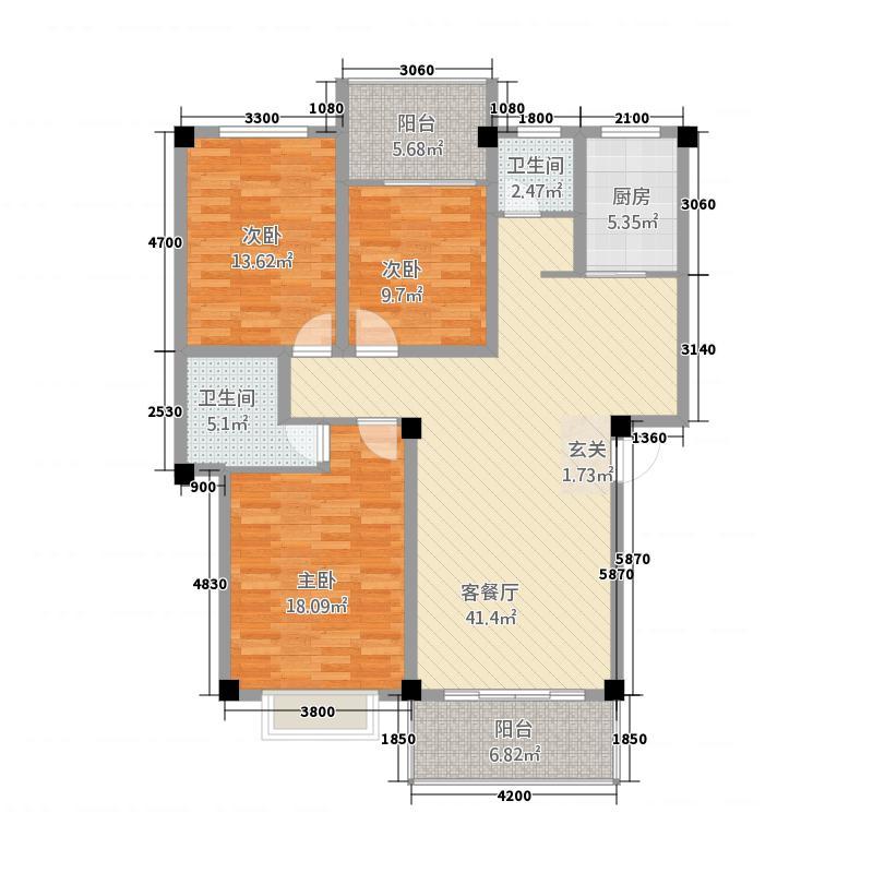 亿豪・尚品城12.00㎡B户型3室2厅2卫1厨