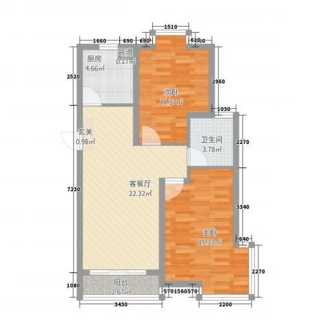 瑞恒水岸新城2室1厅1卫1厨87.00㎡户型图