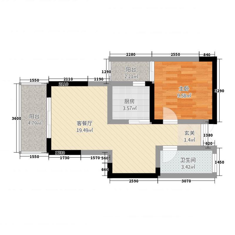 天恒花园Ⅲ期一单元(7号房)一室单卫-_副本户型