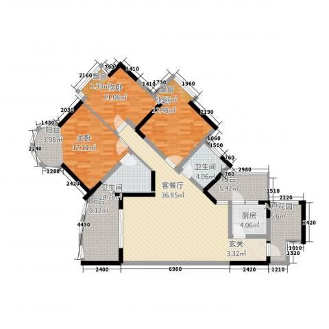 青河世家3室1厅2卫1厨110.55㎡户型图