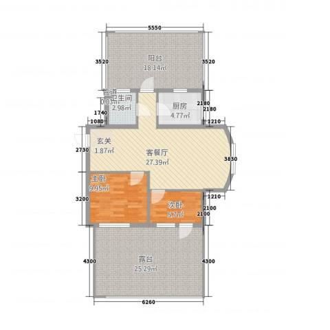 时尚街区东区2室1厅1卫1厨94.24㎡户型图