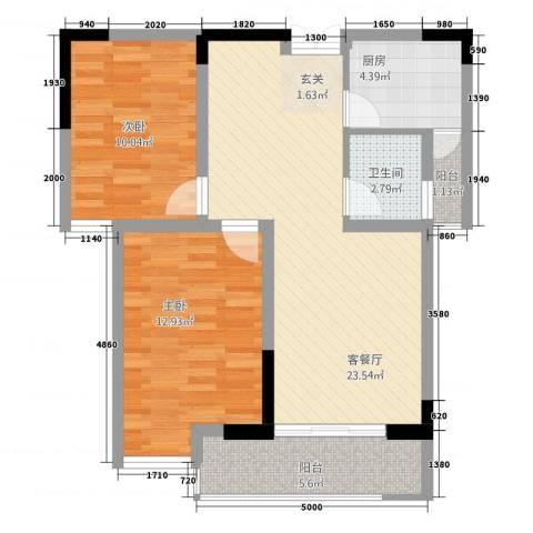 泰鑫・现代城2室1厅1卫1厨87.00㎡户型图