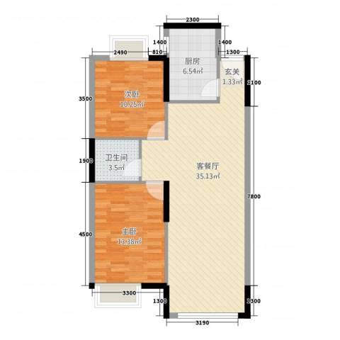 容大印象江南2室1厅1卫1厨68.80㎡户型图