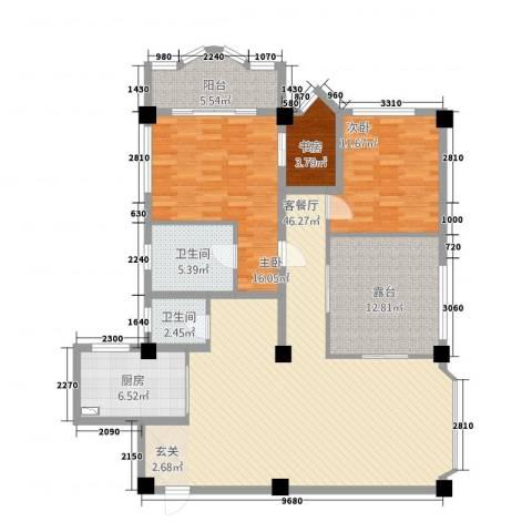 风华苑3室1厅2卫1厨156.00㎡户型图