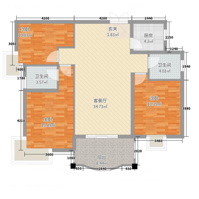 鑫荣・凯旋城121.00㎡F户型3室2厅2卫1厨