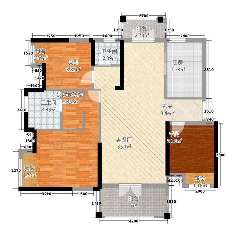新长江香榭东沙135.22㎡2号楼户型3室2厅2卫1厨