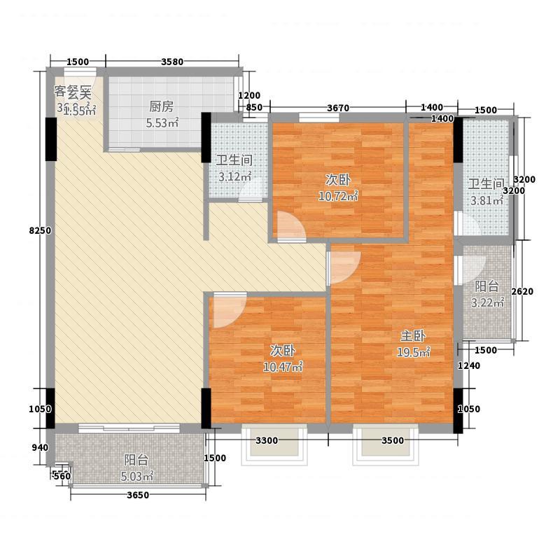 中泰・金泽苑2124.72㎡E栋B户型3室2厅2卫
