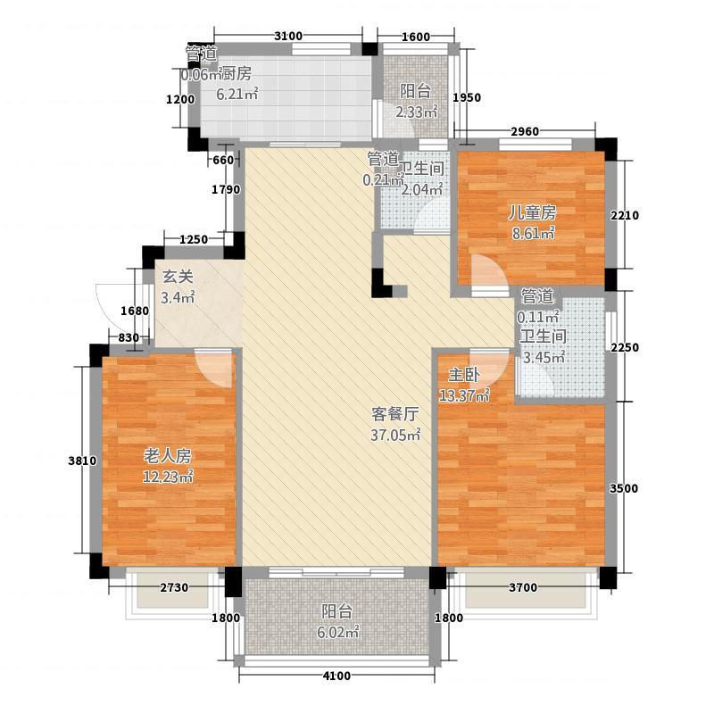 韶关碧桂园121.00㎡彩虹-YJ115T-2型户型3室2厅2卫1厨