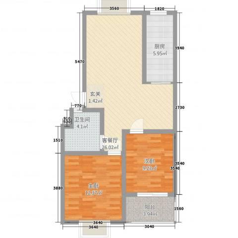 怡景华庭2室1厅1卫1厨88.00㎡户型图