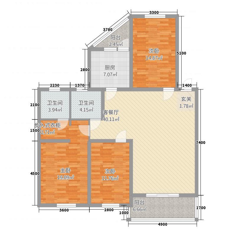 交大银座12.24㎡A1型户型3室2厅2卫1厨