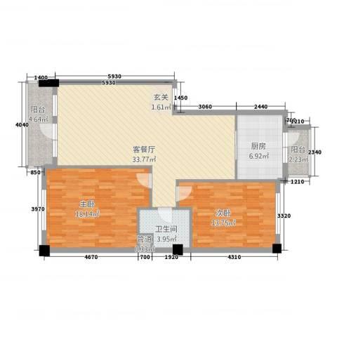 山景铭城2室1厅1卫1厨93.00㎡户型图