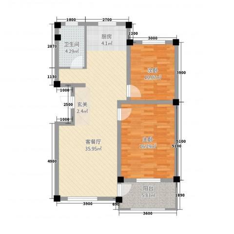 滨河郦都2室1厅1卫0厨102.00㎡户型图
