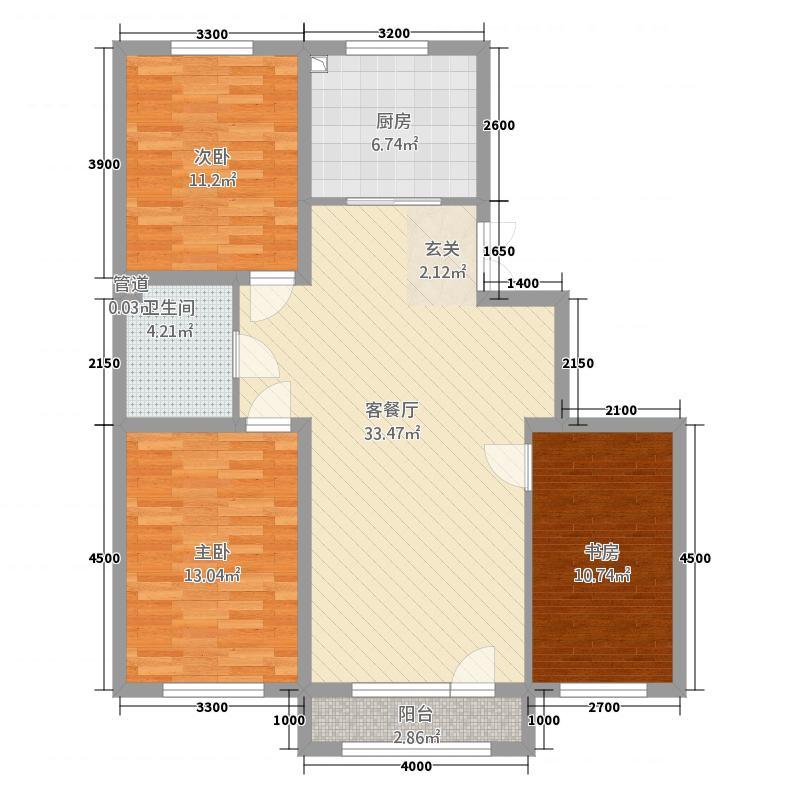 宝地斯帕温泉小镇户型3室2厅1卫1厨