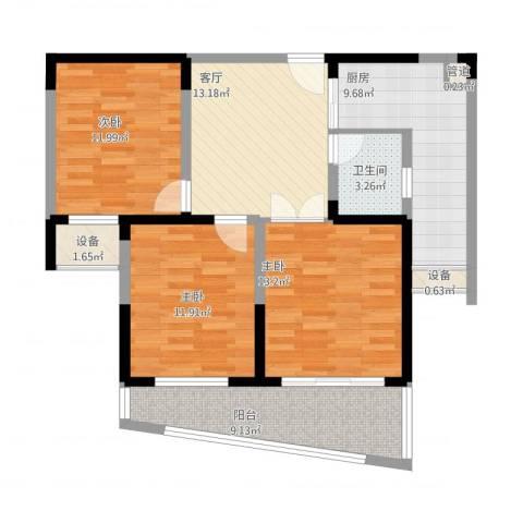 博客山3室1厅1卫1厨109.00㎡户型图