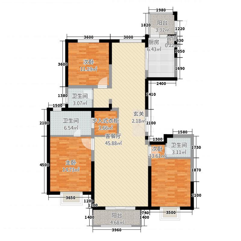锦绣园167167.20㎡-C-户型3室2厅3卫1厨