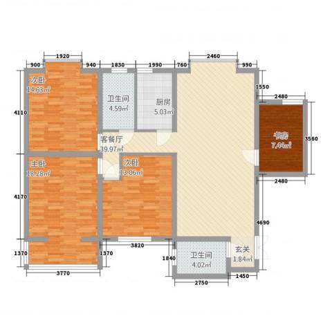 三和家园4室1厅2卫1厨151.00㎡户型图