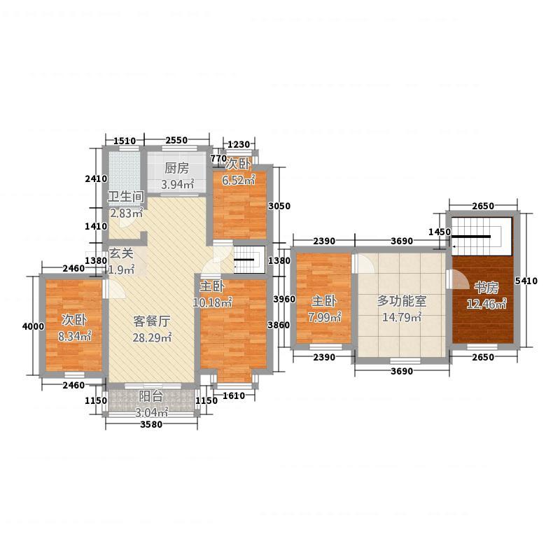 景帝龙缘2.50㎡三居室户型3室2厅1卫1厨
