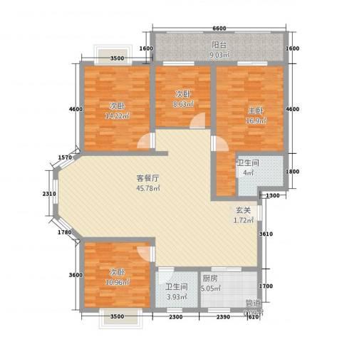 东方名城4室1厅2卫1厨168.00㎡户型图
