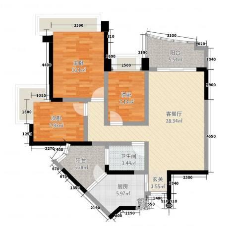雅居乐国际花园雅郡3室1厅1卫1厨84.00㎡户型图