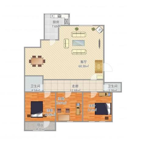 军休所拆迁办宿舍3室1厅2卫1厨177.00㎡户型图