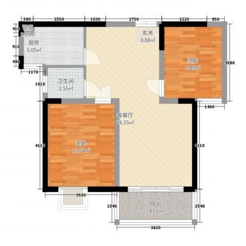 富山・东城海岸2室1厅1卫1厨88.00㎡户型图