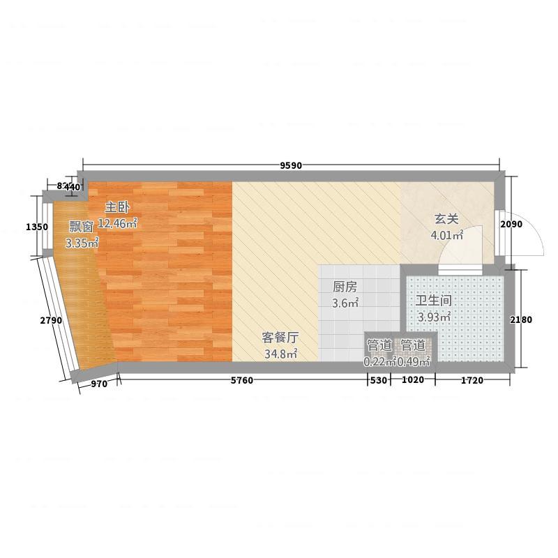 旭辉广场56.00㎡单身公寓AO4户型