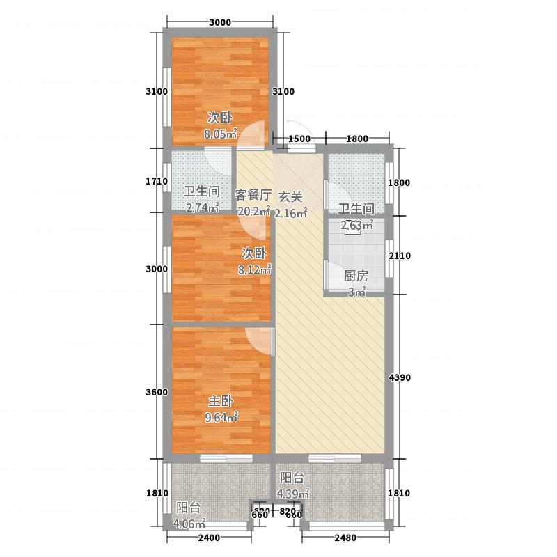 聚福广场88.22㎡D户型3室2厅2卫1厨