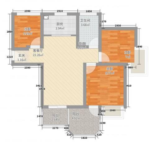 中梁英伦印象3室1厅1卫1厨86.00㎡户型图