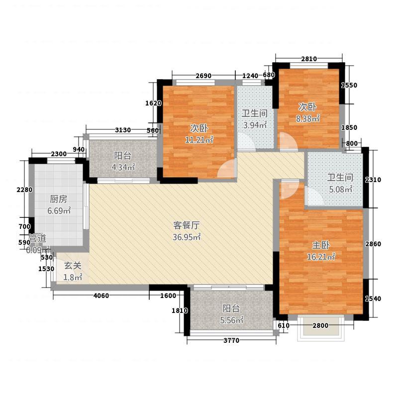 泸州恒大・御景湾13.40㎡户型3室2厅2卫1厨