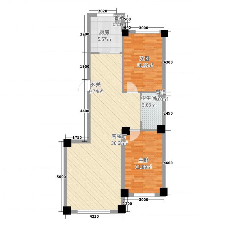 皇家公馆88.00㎡88户型2室2厅1卫